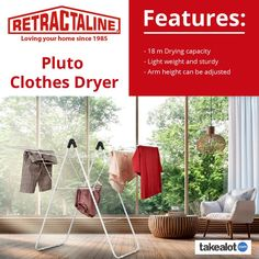 The @retractaline pluto #clotheshorse is 18M of #foldout #laundry airing space on @TAKEALOT. Click below for yours today! Clothes Dryer, Wings Design, Love Your Home, Small Storage, Gull, The Struts, 30 Years, In The Heights, South Africa