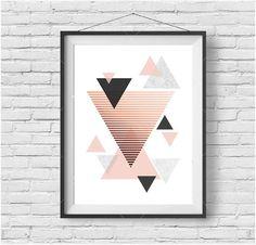 Rose Gold Art Copper Print Geometric Art Blush by PrintAvenue