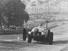 1937, Donington GP. Manfred von Brauchitsch gets airborne on the W125!