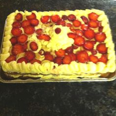 Angel food cake with fat free cool whip mixed with sugar free vanilla pudding packets topped with strawberries and bananas! I made this for Easter this weekend and it was great! Really simple too! Delicious and guilt free!