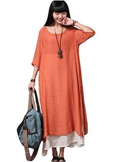 Minibee Women's Double Layer Maxi Dress Side Split Orange Minibee http://www.amazon.com/dp/B00XKOYDSI/ref=cm_sw_r_pi_dp_i2Cbxb08FQ3PM