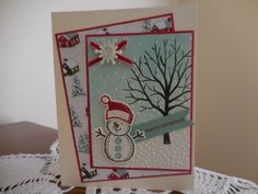 I'm really loving this card layout. Happy Snowman by mhines - Cards and Paper Crafts at Splitcoaststampers