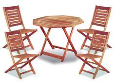 Juego Mesa Madera Eucalipto Octogonal + 4 Sillas Plegables - $ 5.36300 en MercadoLibre  sc 1 st  Pinterest & 22 mejores imágenes de Mesas y sillas de patio jardín y pileta ...