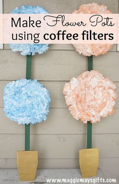 Spring Flower Pot Decor Using Coffee Filters and a Box!