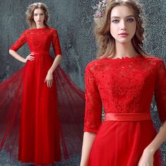 >> Click to Buy << 2016 new arrival stock maternity plus size bridal gown  evening dress sexy red long lace chiffon a line belt 7326 #Affiliate