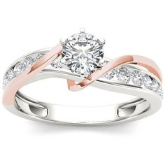 Imperial 3/4 Carat T.W. Diamond Pink Two-Tone Classic 14kt White Gold Engagement Ring