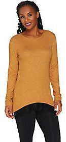 LOGO by Lori Goldstein Waffle Knit Top with Lace Trim