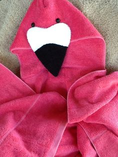Flamingo Adult Size Hooded Bath Towel Pink by TwoChicklets on Etsy
