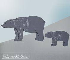 Winterliche Fensterdeko: Eisbärenfamilie mit Prickeleffekt