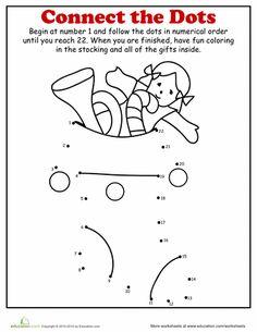 Worksheets: Christmas Dot to Dot: Stocking