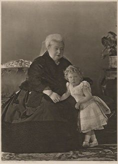 Queen Victoria and her great-grandson, Prince Edward of York (later King Edward VIII then Duke of Windsor). 1897.