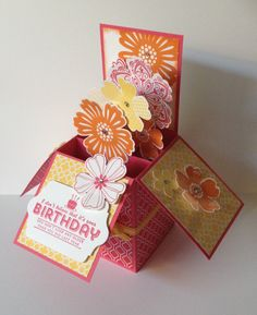 Stampin Up 3D Box Card with Giftcard   Would look nice as a Mother's Day card