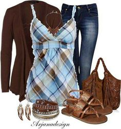 Blue & Brown Country Tank Top.  Would be perfect with Jeans, Cowboy Boots and Cowboy Hat