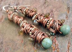 Tangled earrings long, Copper, Silver, Magnesite Turquoise, seed Pearls, and Labradorite, ThePurpleLilyDesigns
