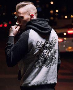 """Corvid Crest"" Raglan Hood Available at www.crmc-clothing.co.uk | WE SHIP WORLDWIDE Models - @ryan_davieshall Photography - @adrianianmcnab #darkwear #hood #blackwear #hoodie #freemasonry #altfashion #alternative #instafashion #fashionstatement #fashiongram #fashionista #instastyle #stylegram #raglan #menwithtattoos #winter #winterfashion #styles #style #alternativeguy #alternativeboy #alternativegirl #alternativeteen #instagrammers #ryandavieshall #tattooedmen"
