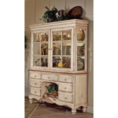 Lowest price online on all Hillsdale Wilshire Buffet and Hutch in Antique White Finish - 4508BH