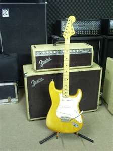 Fender Stratocaster with Fender amp and cabinet.