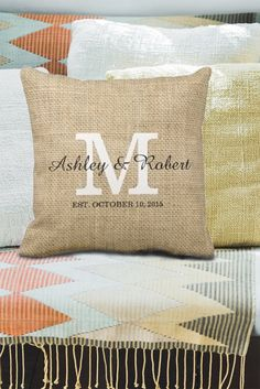 e57de70ffb64 Personalized wedding gift for the bride and groom. Throw pillow as decor  for their new