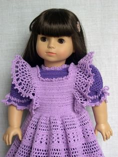 """18 inch Doll Clothes  Crochet doll outfit fits American Girl (AG) and other 18"""" dolls    Gotz doll Tess is modeling this crochet doll dress and pinafore made from a vintage baby pattern (""""Delicate Dresses"""")   I used #10 thread and a smaller hook instead of yarn  With a few simple adjustments it fits great (made by Barb Marlee)"""