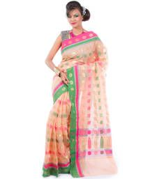 Buy Pink hand woven cotton saree with blouse hand-woven-saree online