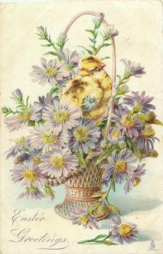 Old Easter Post Card — Easter Basket (448×700)