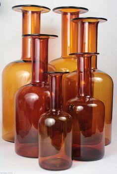 Holmegaard Otto Brauer Amber Glass Gulvvase Gul Vase Set Six Pieces   eBay