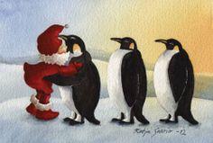 Katja Saario Art Illustrations, Illustration Art, Gnome House, Gnomes, Penguins, Illustrators, Paper Art, Rooster, Fairy Tales