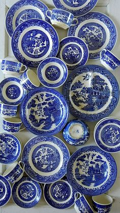 Blue Willow Pattern was our everyday crockery. A put-together collection of vintage and contemporary transferware