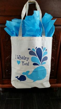 Screenprinted totes- Baby Shower Favor - ocean or whale theme made by Stitches & Screens,  Inc.  @ www.stitchesandscreens.com