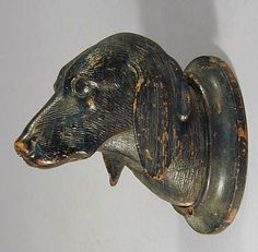 antique black forest carved wood dog head