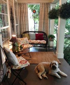 Front porch, stained concrete, outdoor furniture, outdoor curtains--I am definitely staining our back porch. Small Front Porches, Decks And Porches, Screened In Porch, Small Patio, Small Terrace, Outdoor Curtains, Outdoor Rooms, Outdoor Decor, Outdoor Living