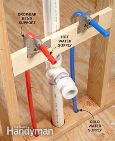 PEX tubing for plumbing. Flexible, fewer joints, simpler plumbing, and color-coded. This can be helpful in the remodel projects of older homes or the addition of a bathroom or a simple sink in existing plumbing. Pex Plumbing, Bathroom Plumbing, Bathroom Fixtures, Plumbing Installation, Home Repairs, Basement Remodeling, Home Renovation, Home Projects, Planer