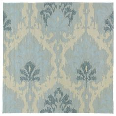 This Seaside blue ikat area rug is luxurious and durably made to be a wonderful addition to anywhere around your home. This non-skid-backed indoor/outdoor rug is UV treated to prevent excessive fading and is mildew resistant.