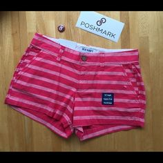 LISTING Stripe Shorts NWTS. Both pockets in front and back. Pink on pink. Old Navy Shorts