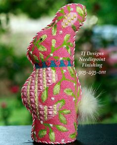 Bunny  needlepoint finishing by tj designs.903-493-0111