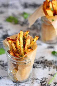 Baked garlic french fries dressed in cilantro. A friend to your tastes as well as waistline when youre craving that handful of salty goodness. pick-me-up