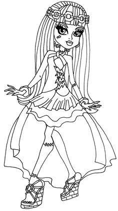 Frankie 13 Wishes by elfkena on DeviantArt - a coloring page of frankie in her 13 wishes outfit from monster high