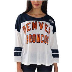 Women's Denver Broncos White Hail Mary 3/4 Sleeve T-Shirt