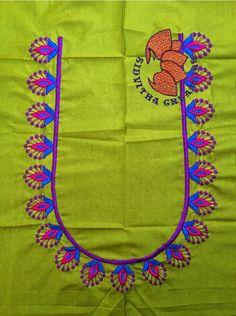 Hand Work Blouse Design, Simple Blouse Designs, Silk Saree Blouse Designs, Bridal Blouse Designs, Blouse Neck Designs, Sari Blouse, Hand Embroidery Dress, Embroidery Works, Hand Embroidery Designs