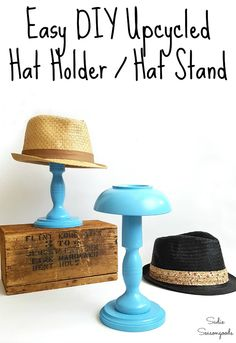 Hat storage can be a problem if you love a good trilby hat or fedora like Sadie . - UPCYCLING IDEAS - Hat storage can be a problem if you love a good trilby hat or fedora like Sadie …, - Upcycled Crafts, Upcycled Home Decor, Repurposed, Chapeau Trilby, Konmari, Hat Storage, Thrift Store Crafts, Recycled Pallets, Manualidades