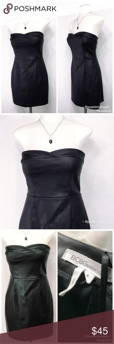 🆕 BCBG Pleather/Polyurethane Strapless Dress It looks like leather but is much lighter and comfortable to wear! In great condition! It's a stretch Black pleather / polyurethane Strapless dress from BCBGeneration in size 6. BCBGeneration Dresses Mini