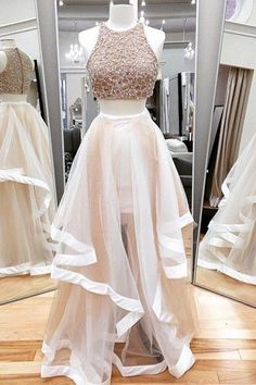 Jewel Neck Ivory Two Piece Prom Dress, Sparkling Beaded Floor Length Tulle Prom Dress, Elegant A-line Crop Top Sleeveless Prom Dress, from Dressesofgirl Girls Evening Dresses, Prom Dresses Two Piece, Hoco Dresses, Tulle Prom Dress, Prom Party Dresses, Dance Dresses, Homecoming Dresses, Evening Gowns, Dress Outfits