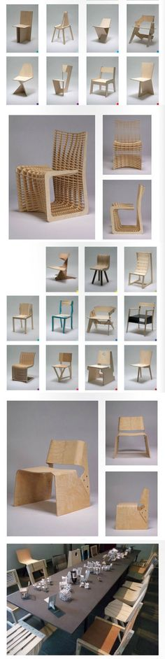 Woodworking Course one-chair-a-week_royal-danish-academy-fine-arts-architecture_collabcubed. Cardboard Chair, Cardboard Furniture, Wooden Furniture, Plywood Chair, Unique Furniture, Furniture Design, Design Industrial, Furniture Inspiration, Wood Design