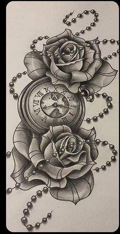 Po Skull Rose Tattoos, Key Tattoos, Watch Tattoos, Badass Tattoos, Time Tattoos, Forearm Tattoos, Unique Tattoos, Flower Tattoos, Body Art Tattoos
