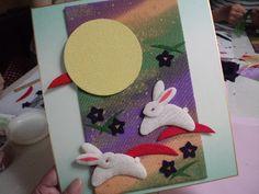 秋の風物詩を描いた手作りの色紙。 Bunnies, Crafty, Lace, Fabric, Tejido, Tela, Rabbits, Fabrics, Tejidos