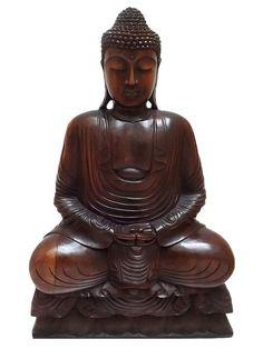 Escultura de Buda Meditando em Madeira 80cm - Bali - http://www.artesintonia.com.br/escultura-de-buda-meditando-em-madeira-arte-bali-80cm