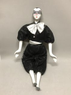 Porcelain Pierrot Clown Doll Black and Silver Outfit Cat Make-up by Anaforia on Etsy Black And Silver Outfits, Pierrot Clown, Cat Mask, White Leather, Porcelain, Tulle, Ballet Skirt, Cats, How To Wear