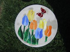 Stained glass Tulip stepping stone