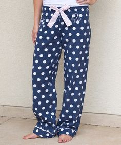 This Navy & White Polka Dot Monogram Pajama Pants is perfect! #zulilyfinds