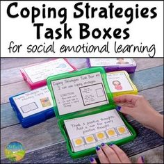 Use these coping strategies task boxes to practice social emotional learning skills in a hands-on and interactive way! Skills targeted include matching, identifying, and choosing coping skills. A total of 12 task boxes are included, each with 12 cards. Coping Skills Activities, Counseling Activities, Therapy Activities, Autism Activities, Sorting Activities, Play Therapy, Therapy Ideas, Speech Therapy, School
